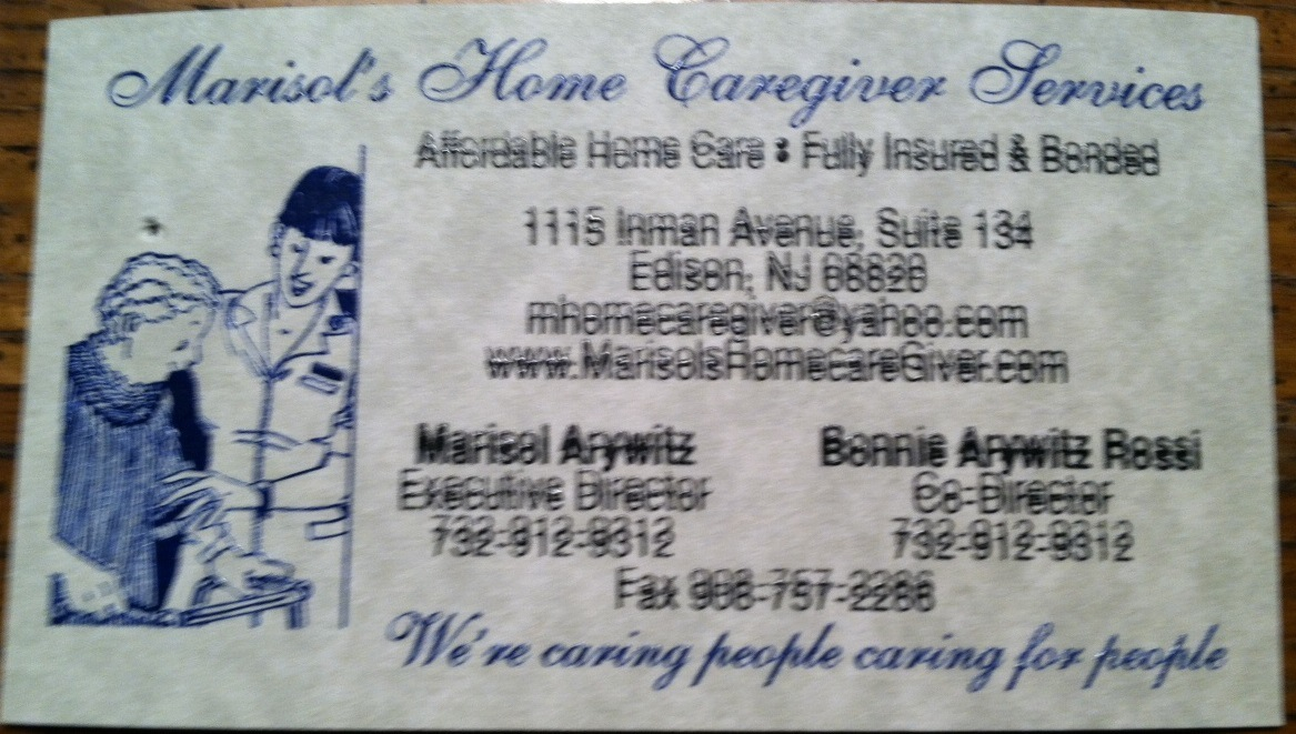 Marisols Home Caregiver Services Bad Business Card In New Jersey