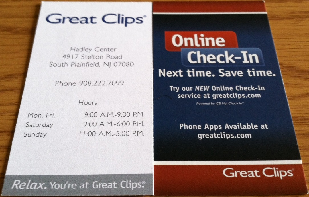 7 Haircut At Great Clips South Plainfield Nj Business Card Collector
