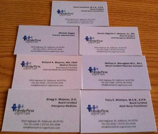 Family first urgent care oakhurst nj business card collector family first urgent care colourmoves Images