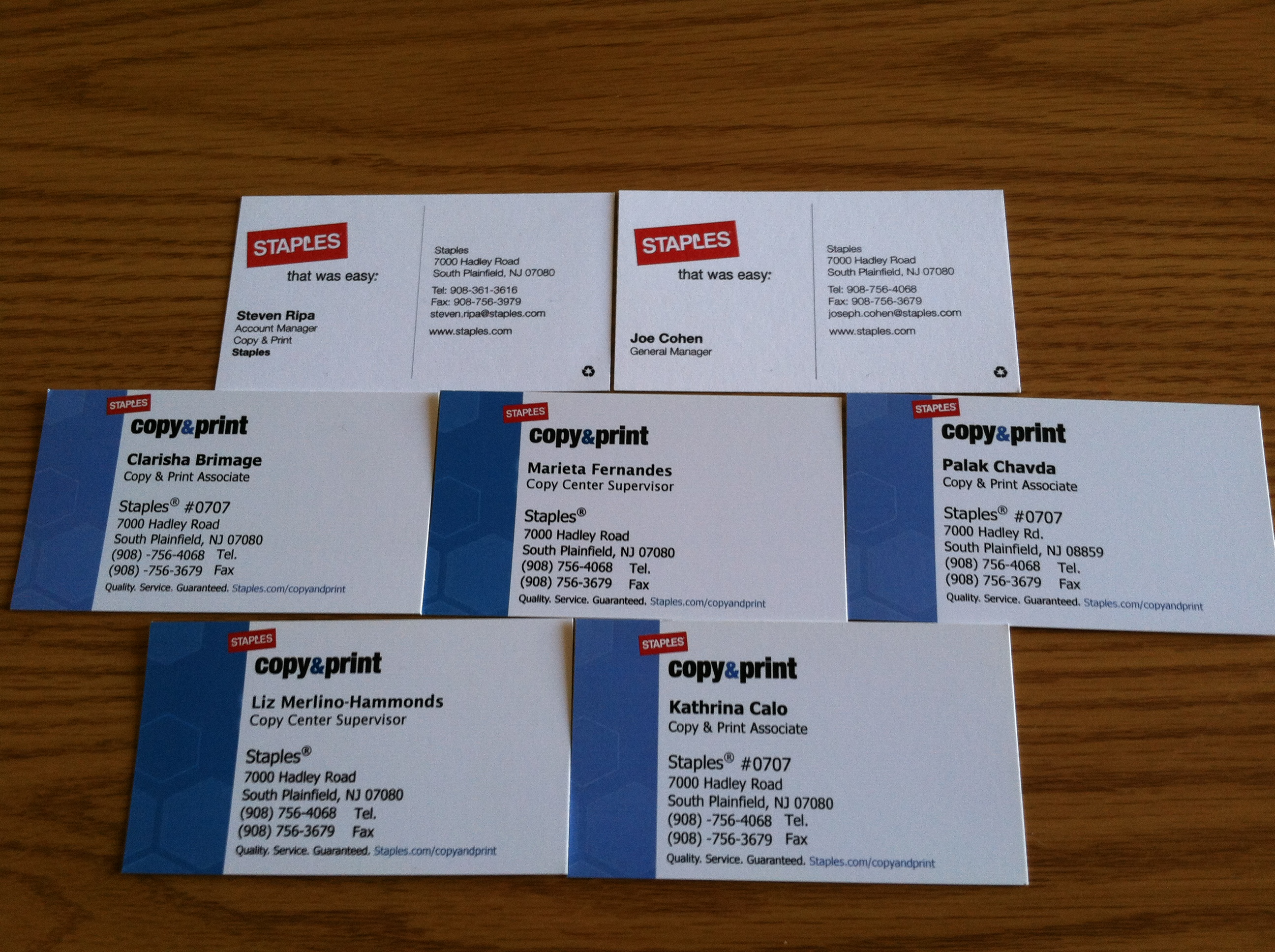 business card collector staples south plainfield nj
