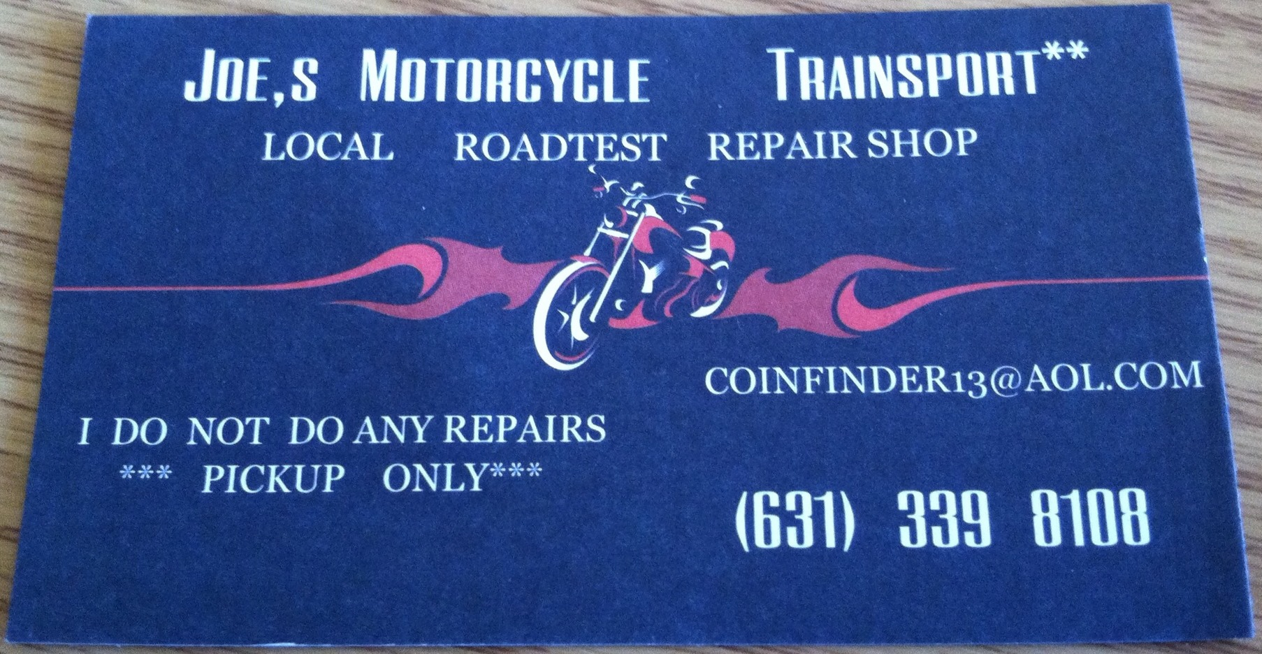 Joes Motorcycle Transport Business Card Errors
