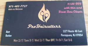 My most recent barber has his own business card ace pro haircutters reheart Choice Image