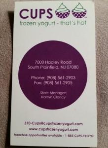 Cups Frozen Yogurt South Plainfield NJ