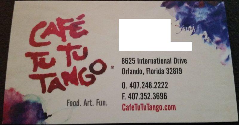 Cafe Tu Tu Tango Orlando FL